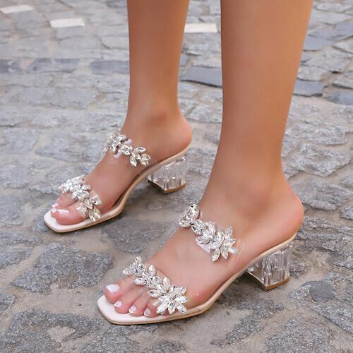 Trendbu Ayakkabı - Bej Çift Taş Şeritli Terlik