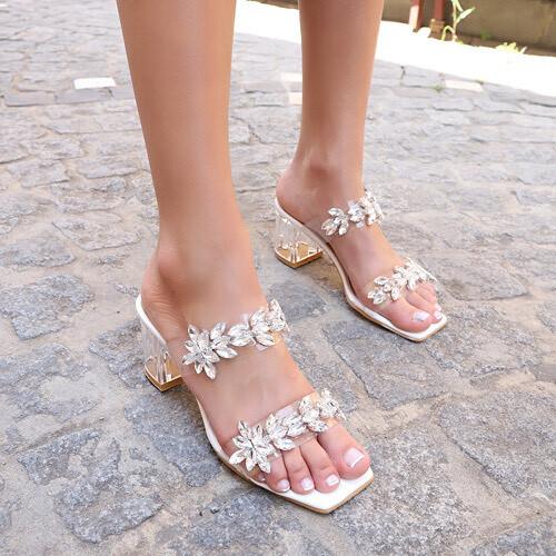 Trendbu Ayakkabı - Beyaz Çift Şeritli Taşlı Terlik