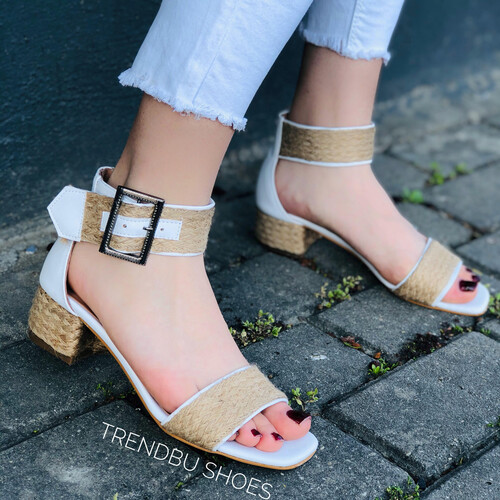 Trendbu Ayakkabı - Beyaz Hasır Kemerli Sandalet
