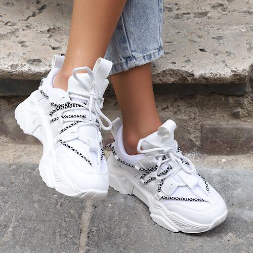Trendbu Ayakkabı - Beyaz Kadın İpli Sneaker