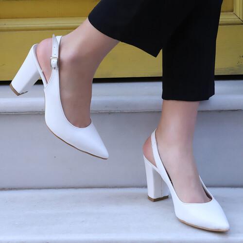 Trendbu Ayakkabı - Beyaz Kadın Topuklu Ayakkabı