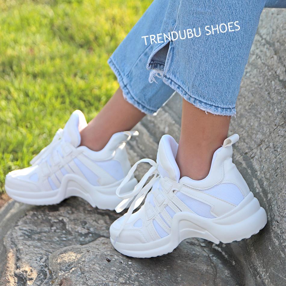 Beyaz Fileli Spor Ayakkabı