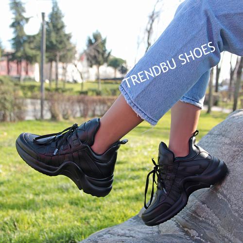 Trendbu Ayakkabı - Siyah Cilt Spor Ayakkabı