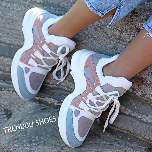 Trendbu Ayakkabı - Mavi-Pudra Spor Ayakkabı