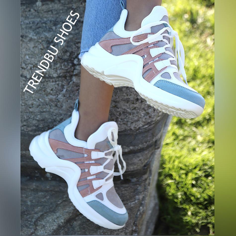 Mavi-Pudra Spor Ayakkabı