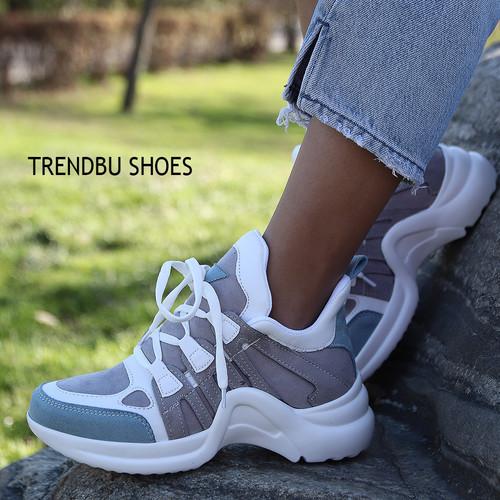 Trendbu Ayakkabı - Mavi-Gri Spor Ayakkabı