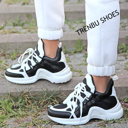 Trendbu Ayakkabı - Siyah-Beyaz Spor Ayakkabı