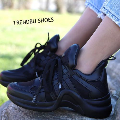 Trendbu Ayakkabı - Siyah Fileli Spor Ayakkabı