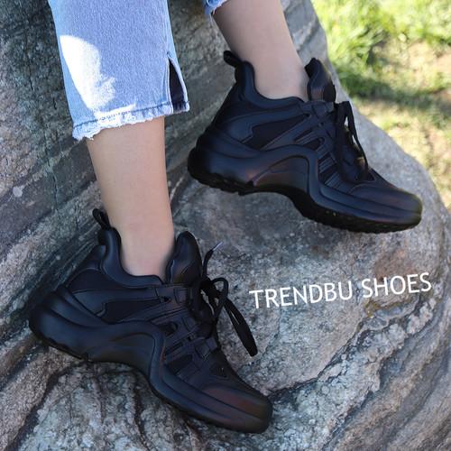Siyah Fileli Spor Ayakkabı - Thumbnail