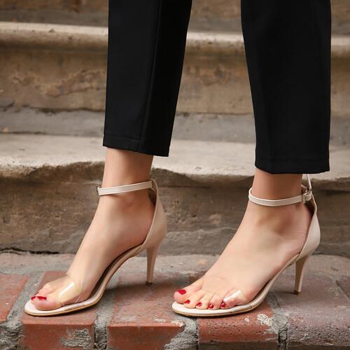 Trendbu Ayakkabı - Kadın Bej-Şeffaf Tek Bant Topuklu Ayakkabı