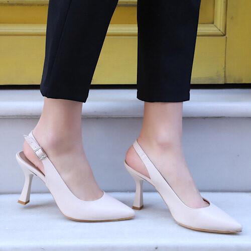 Trendbu Ayakkabı - Kadın Bej Topuklu Ayakkabı