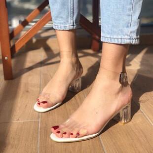 Trendbu Ayakkabı - Kadın Beyaz Taşsız 6 cm Topuklu Ayakkabı