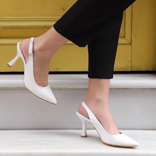 Trendbu Ayakkabı - Kadın Beyaz Topuklu Ayakkabı