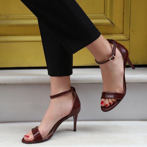 Trendbu Ayakkabı - Kadın Bordo Kroko Tek Bant Topuklu Ayakkabı