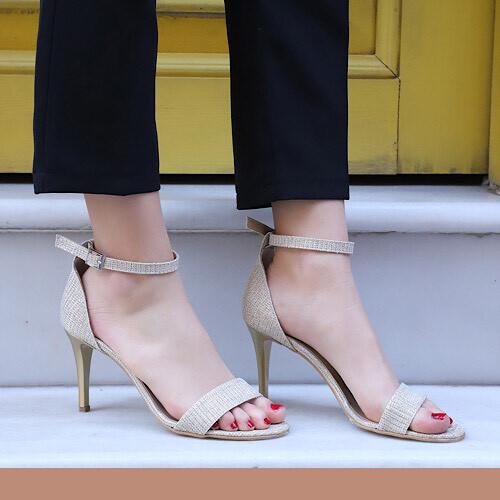 Trendbu Ayakkabı - Kadın Gold Pullu Tek Bant