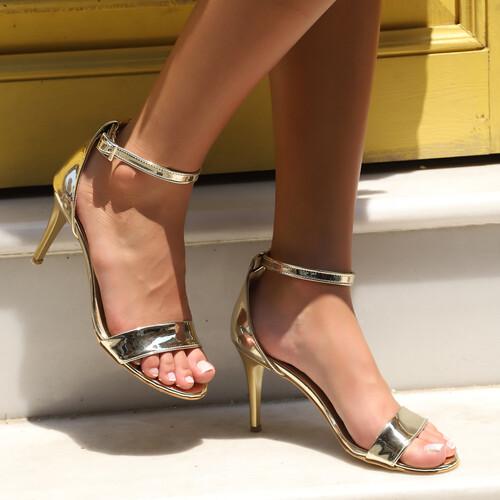 Trendbu Ayakkabı - Kadın Gold Tek Bant Topuklu Ayakkabı