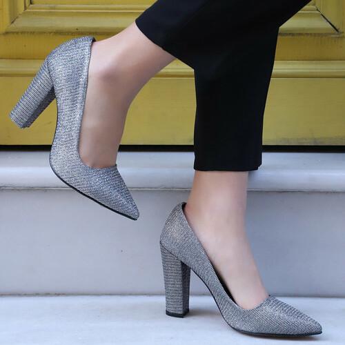 Trendbu Ayakkabı - Kadın Gri Kalın Topuklu Ayakkabı