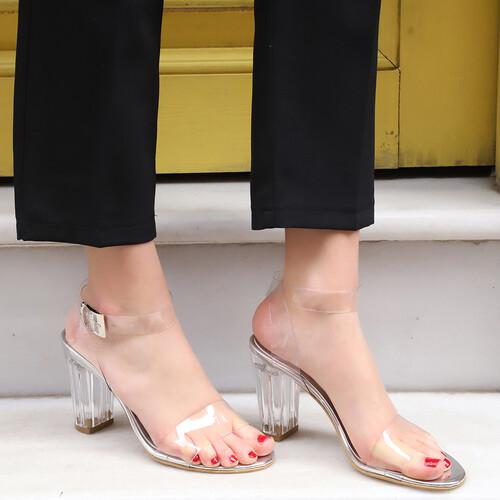 Trendbu Ayakkabı - Kadın Gümüş 9 cm Şeffaf Topuklu Ayakkabı
