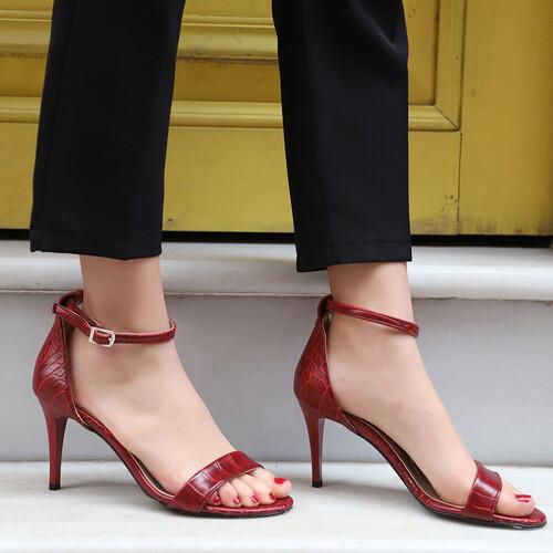 Trendbu Ayakkabı - Kadın Kırmızı Kroko Tek Bant Topuklu Ayakkabı