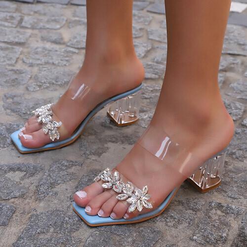 Trendbu Ayakkabı - Kadın Mavi Tek Şerit Taşlı Terlik