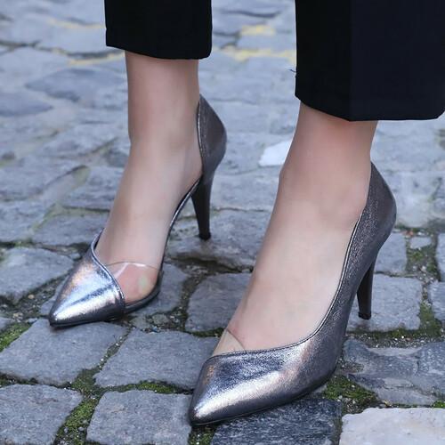 Trendbu Ayakkabı - Kadın Platin Topuklu Ayakkabı
