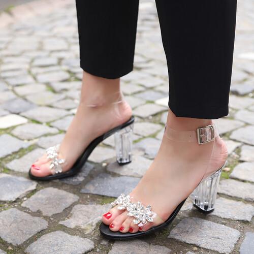 Trendbu Ayakkabı - Kadın Siyah Şeffaf Taşlı Topuklu Ayakkabı 9 cm