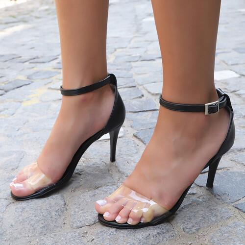 Trendbu Ayakkabı - Kadın Siyah-Şeffaf Tek Bant Topuklu Ayakkabı