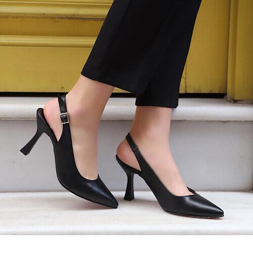 Trendbu Ayakkabı - Kadın Siyah Topuklu Ayakkabı 8 cm
