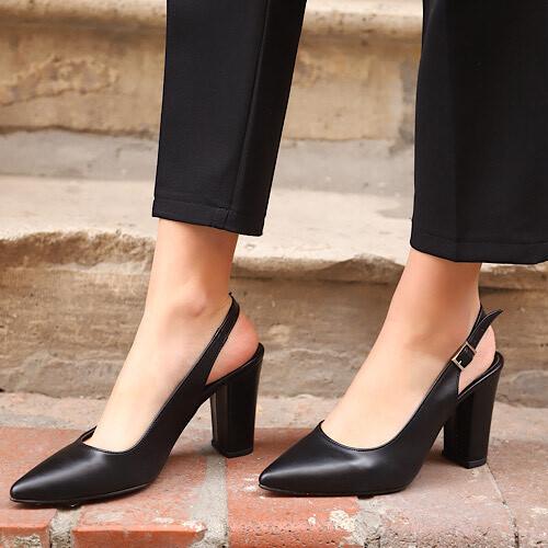 Trendbu Ayakkabı - Kadın Siyah Topuklu Ayakkabı