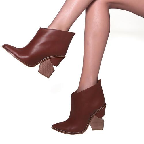 Trendbu Ayakkabı - Kadın Taba Kısa Bot