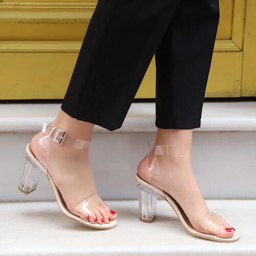 Trendbu Ayakkabı - Kadın Ten 9 cm Şeffaf Topuklu Ayakkabı