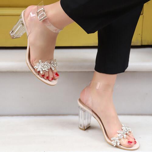 Trendbu Ayakkabı - Kadın Ten Şeffaf Taşlı Topuklu Ayakkabı 9 cm
