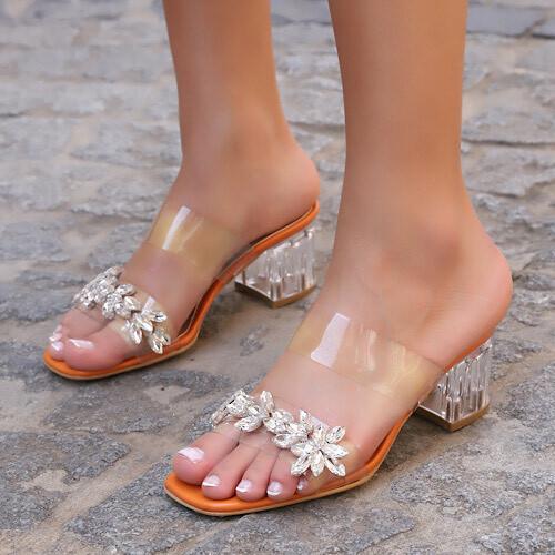 Trendbu Ayakkabı - Kadın Turuncu Tek Şerit Taşlı Terlik