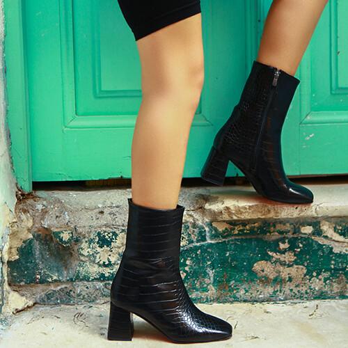 Trendbu Ayakkabı - Kroko Küt Kadın Bot