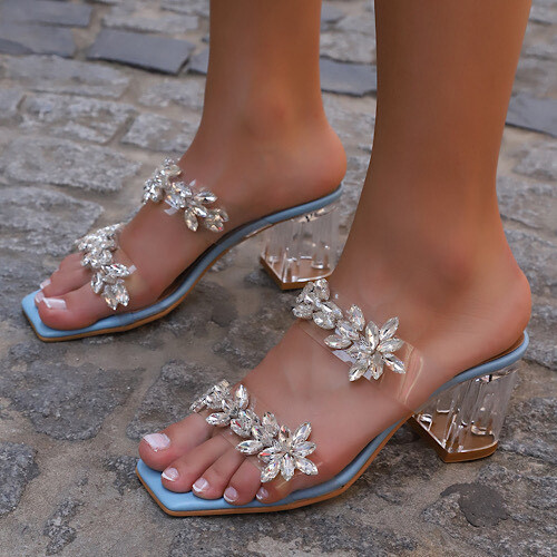 Trendbu Ayakkabı - Mavi Çift Şeritli Taşlı Terlik