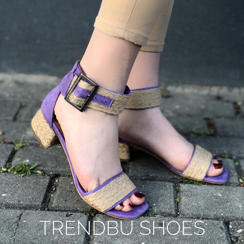 Trendbu Ayakkabı - Mor Hasır Kemerli Sandalet