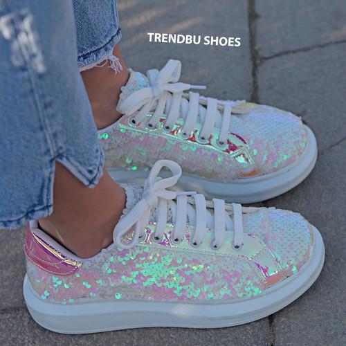 Trendbu Ayakkabı - Beyaz Pul Payetli Spor Ayakkabı