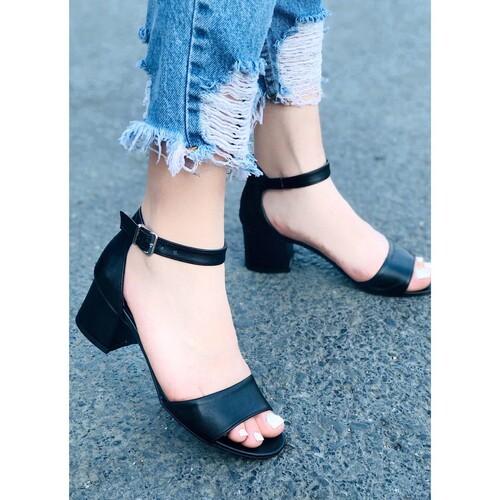 Trendbu Ayakkabı - Siyah Cilt Topuklu Ayakkabı