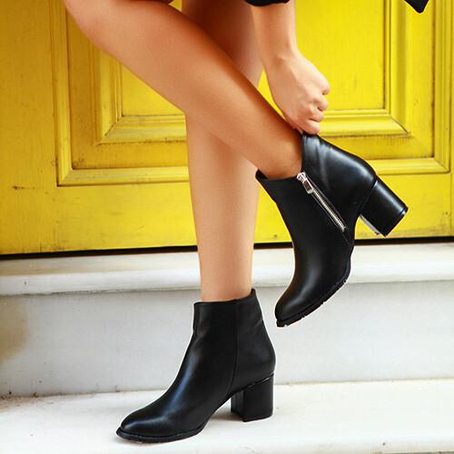 Trendbu Ayakkabı - Siyah Fermuarlı Bot