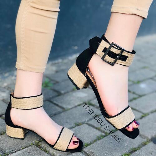 Trendbu Ayakkabı - Siyah Hasır Kemerli Sandalet