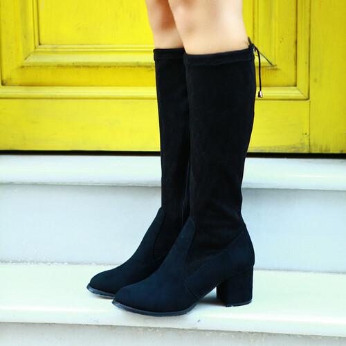 Trendbu Ayakkabı - Siyah Kısa Streç Çizme