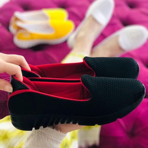 Trendbu Ayakkabı - Siyah-Kırmızı Ortopedik Sneaker