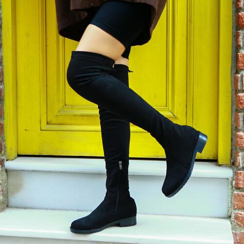 Trendbu Ayakkabı - Kadın Siyah Streç Çizme