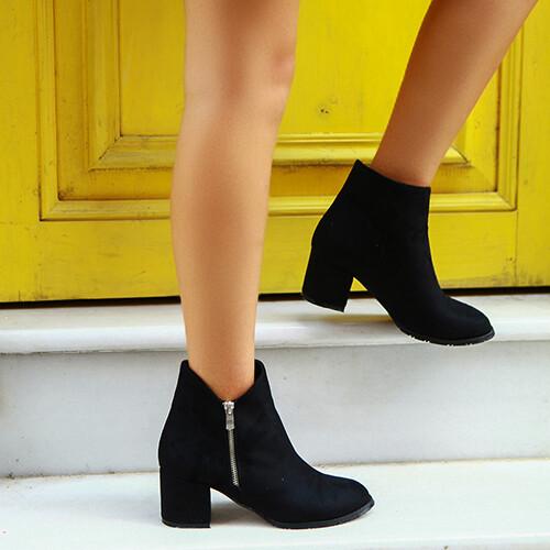 Trendbu Ayakkabı - Siyah Süet Fermuarlı Bot