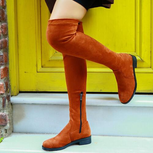 Trendbu Ayakkabı - Kadın Taba Streç Çizme