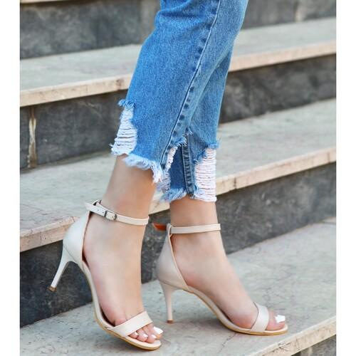 Trendbu Ayakkabı - Bej Tek Bant Topuklu Ayakkabı