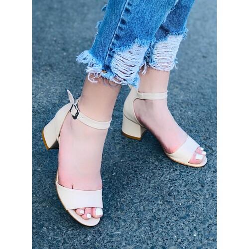 Trendbu Ayakkabı - Bej Topuklu Ayakkabı