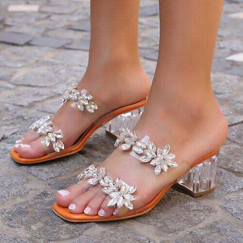 Trendbu Ayakkabı - Turuncu Çift Şerit Taşlı Terlik